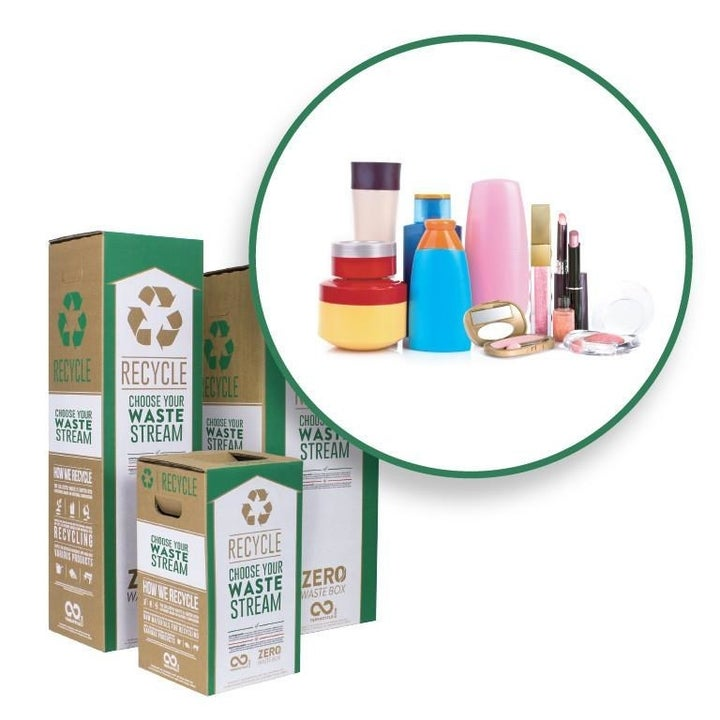 The same three boxes with an inset showing a pile of beauty product bottles and clamshells
