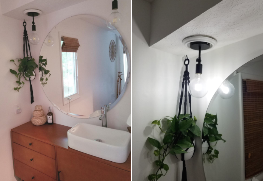 Reviewer image of a bathroom that used the kit to turn recess lighting into pendant lighting