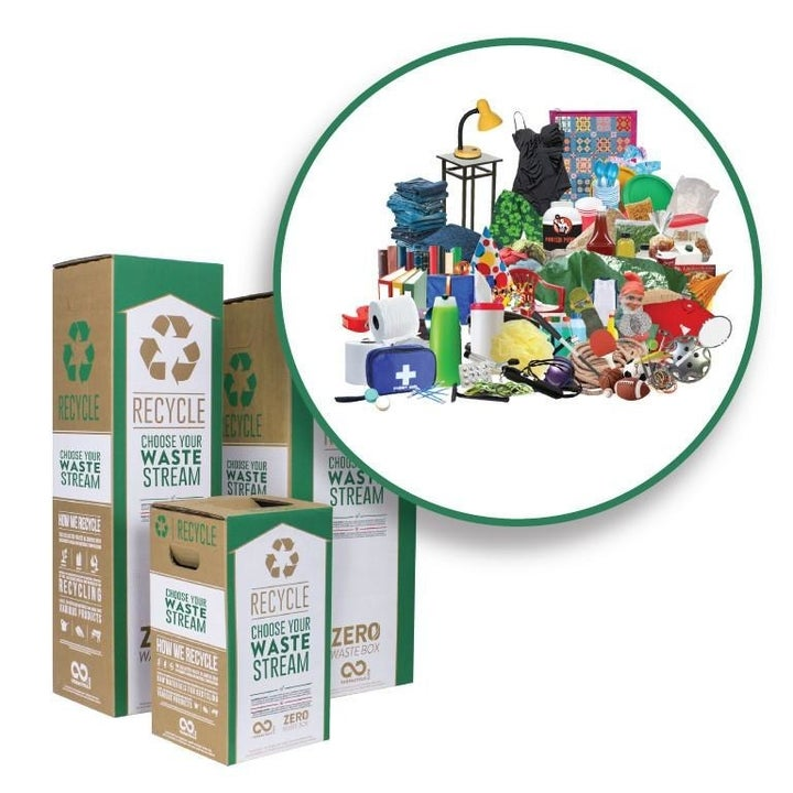 Three different-size boxes with an inset of a pile of all kinds of different household items that can be recycled in it