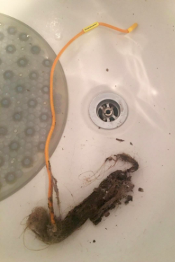 reviewer pic of the hair remover with a huge clump of hair caught on the end