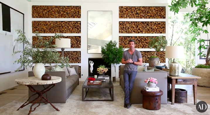 Here's Dempsey just casually leaning in his beautiful living room.