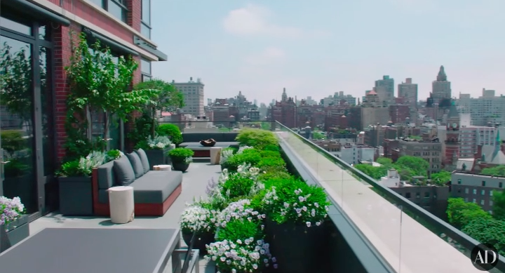 First, let's talk about Michael's balcony which overlooks NYC. Not only is it this huge, expansive, wraparound balcony, but it also has fresh flowers, herbs, and fruits growing on it.