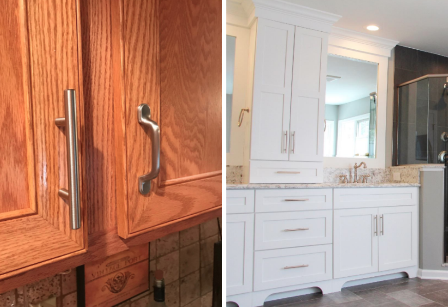 Two reviewer images of pulls used to replace old ones on kitchen and bathroom cabinets