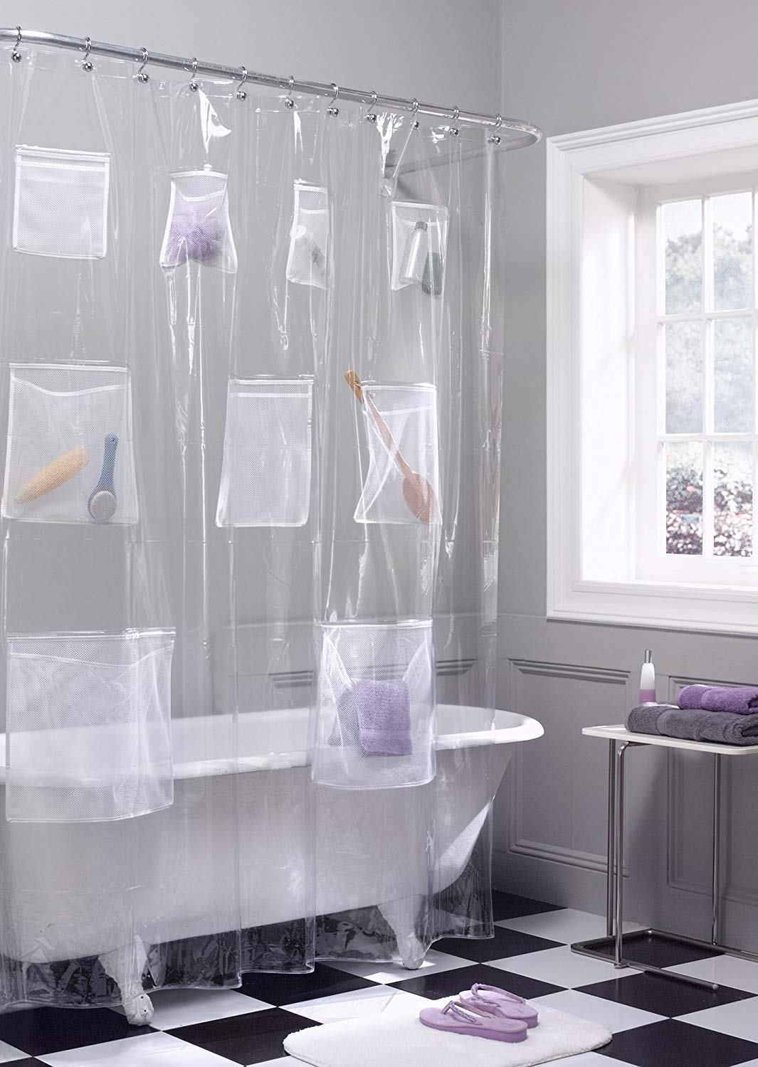 Shower curtain liner with pockets