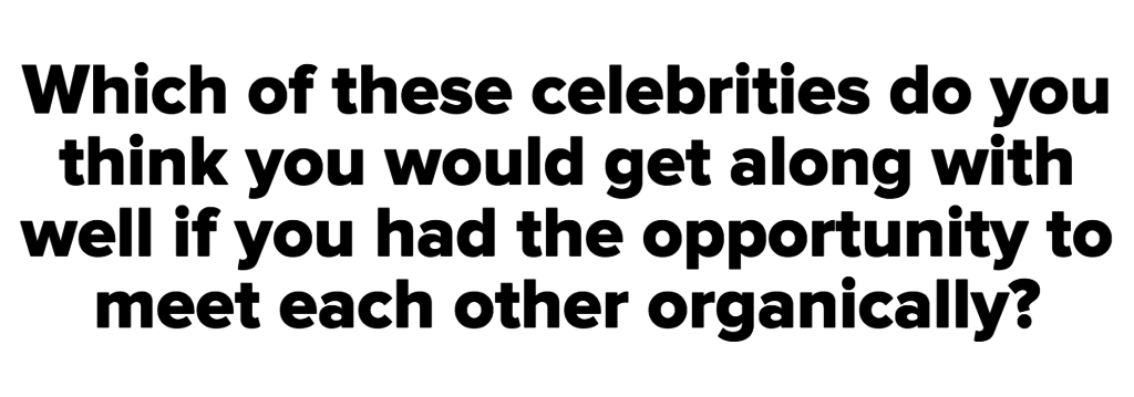 Which of these celebrities do you think you would get along with well if you had the opportunity to meet each other organically?