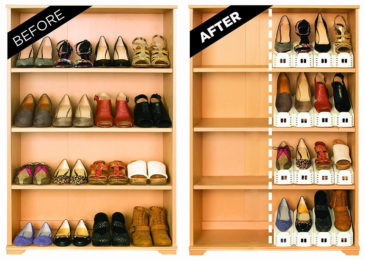 """labeled """"before"""" a four tier shelf full of shoes; labeled """"after"""" that same shelf half-used because the shoes are in shoe holders"""