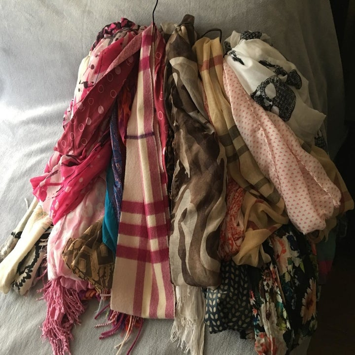 a mess of scarves