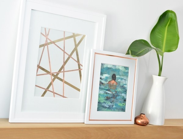 Two frames with copper art and one with copper taped around the matte