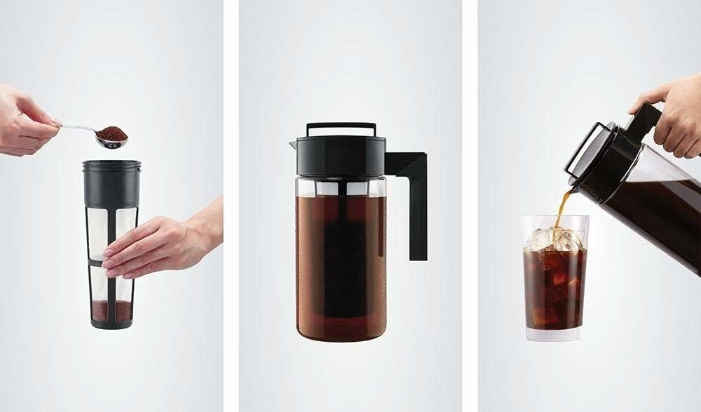 on the left, hands adding coffee to the filter, in the middle, coffee steeping in the pitcher, on the right coffee being poured into a glass with ice