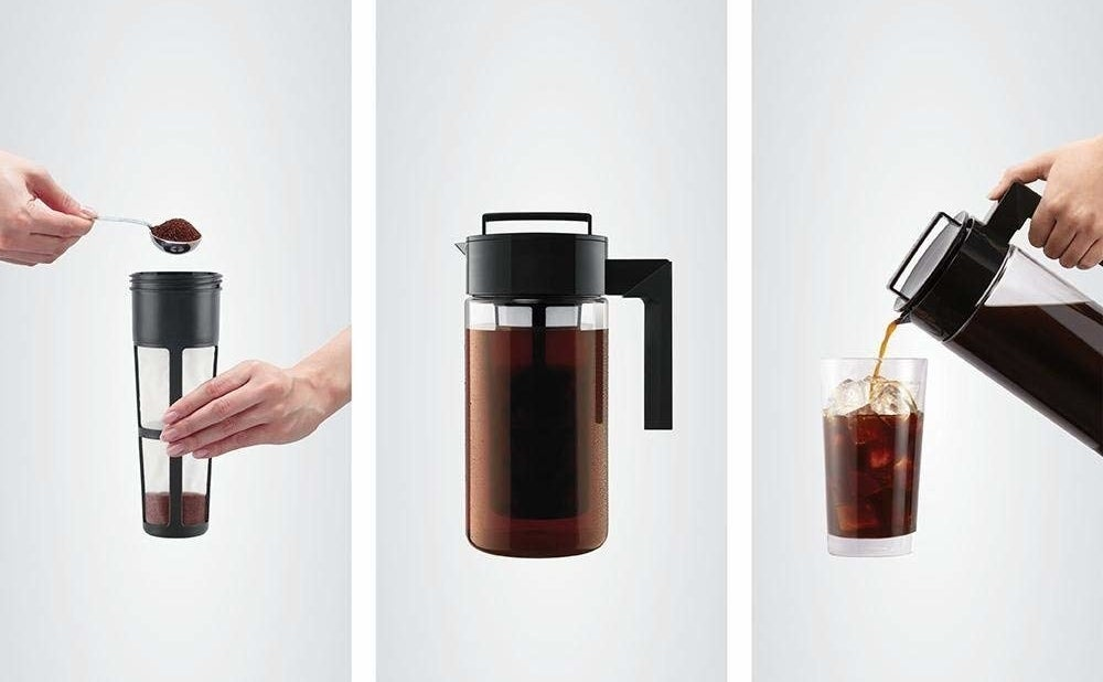 on the left a model filling a filter with ground coffee, in the middle the coffee steeping in the pitcher, on the right a model pouring iced coffee from the pitcher into a glass