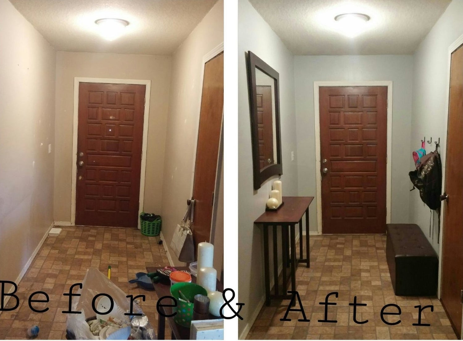 """labelled """"before"""": a cluttered entryway; labelled """"after"""": an organized entryway with the storage ottoman"""