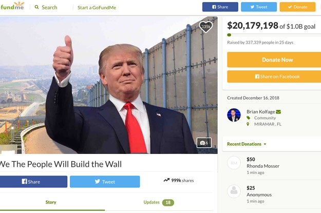 GoFundMe Is Refunding All $20 Million In Donations To Build Trump's Wall After Failing To Reach Its Goal