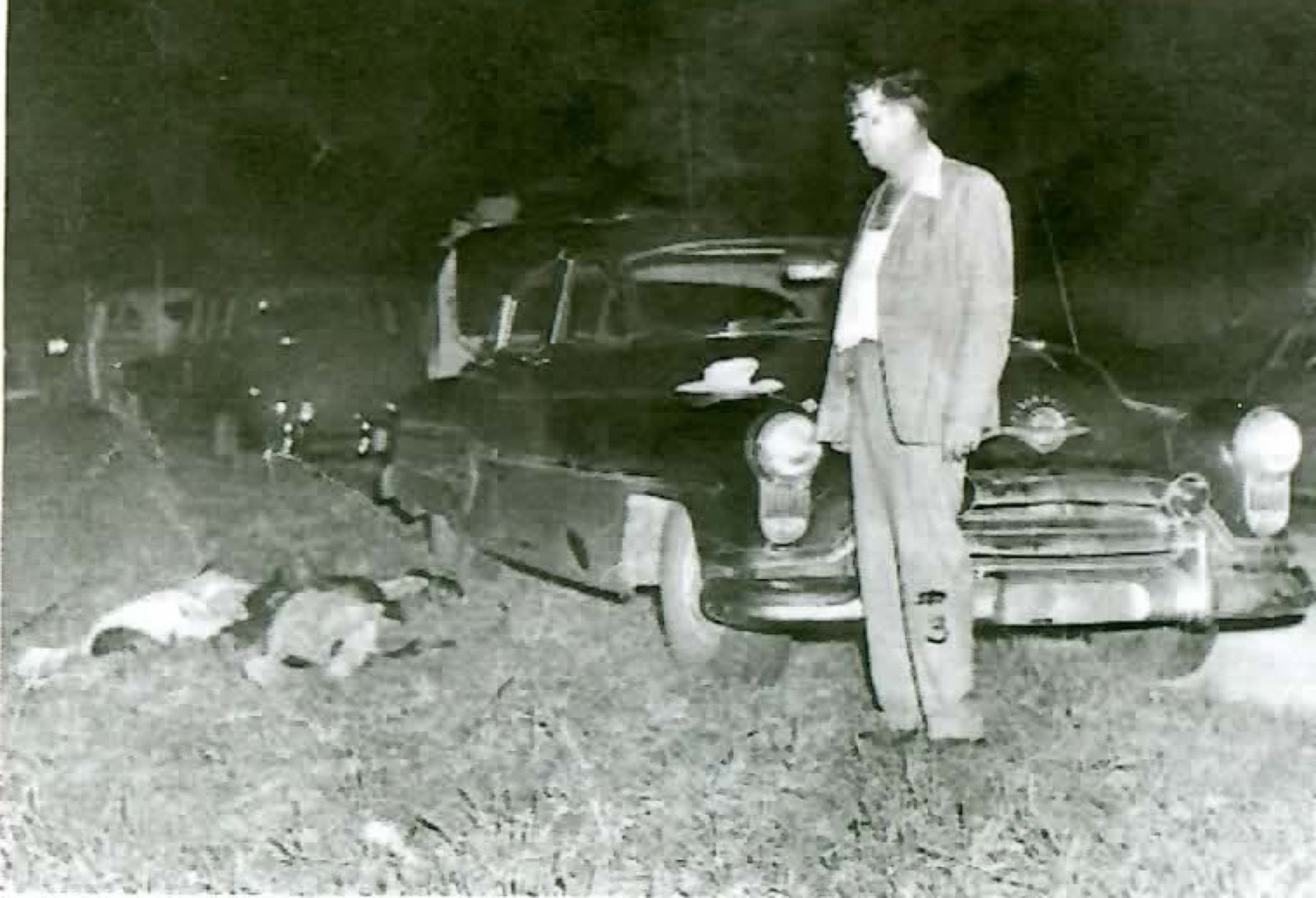Sheriff Willis V. McCall after shooting prisoners Samuel Shepherd and Walter Irvin on desolate backroad in Lake County, Florida, November 1951.