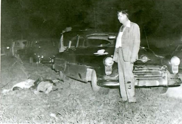 Sheriff Willis McCall after shooting prisoners Samuel Shepherd and Walter Irvin on a desolate backroad in Lake County, Florida, November 1951.