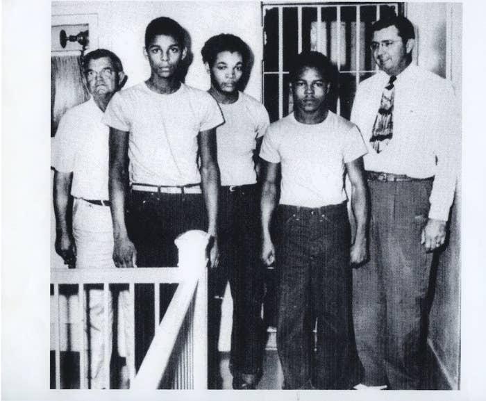 From left: Jailer Reuben Hatcher, Charles Greenlee, Samuel Shepherd, Walter Irvin, and Sheriff Willis McCall.