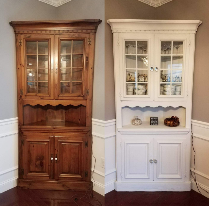 Reviewer's before/after of an old piece of furniture that was painted white and looks more modern and clean