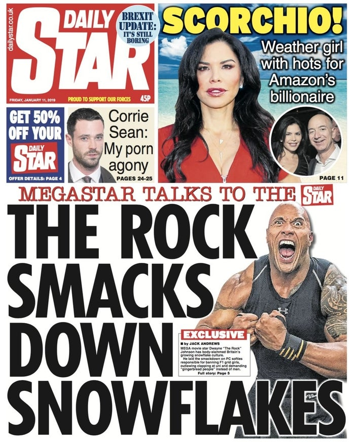 The cover of the Daily Star with the alleged interview on its cover.