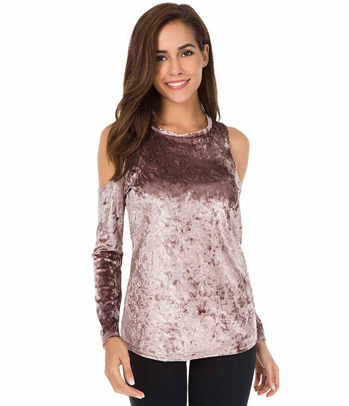 0281429f20f6ee A velvet cold shoulder top, because this'll make it more than possible to  grin and bare getting dressed for a night out *without* sacrificing style  for ...