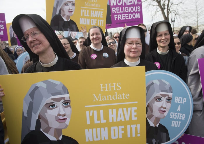 Supporters of religious organizations that want to ban contraceptives from their health insurance policies rally outside the Supreme Court in March 2016.