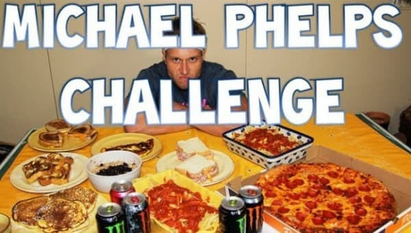 A screen shot of a man looking at a bunch of junk food