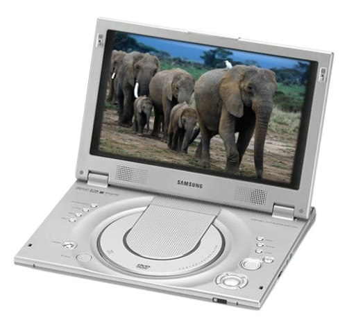 A portable DVD player playing a movie featuring elephants walking
