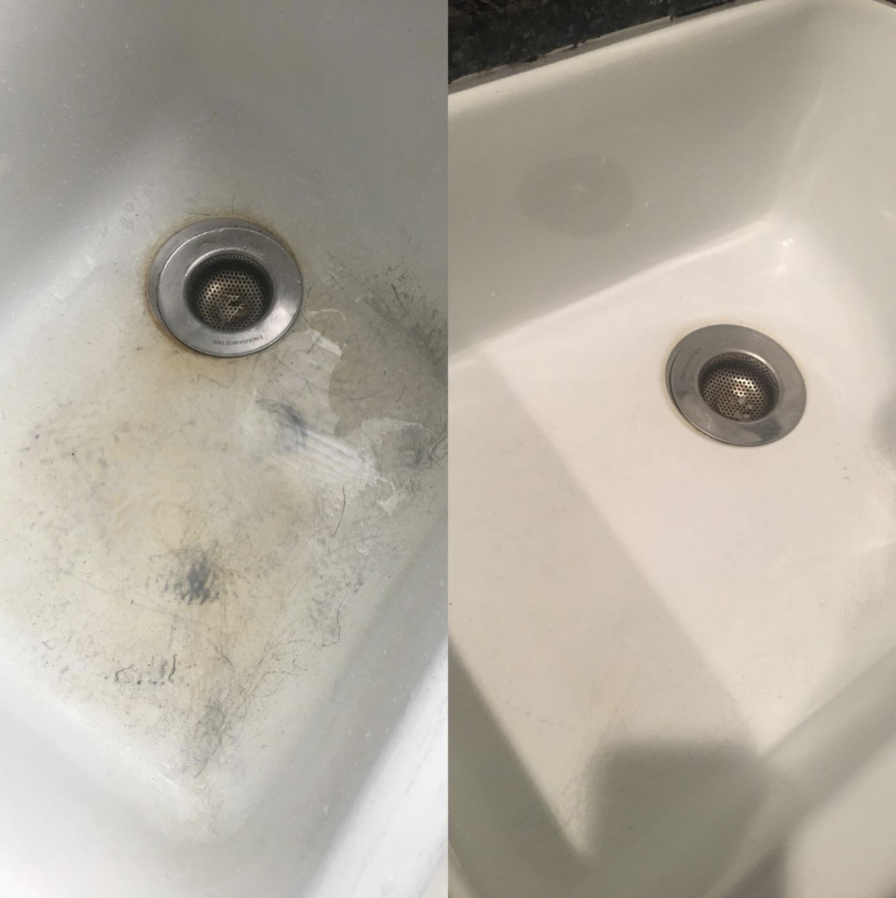 Reviewer before and after using the solution on a scuffed up sink