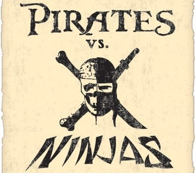 A flag featuring a Pirate Ninja logo and Pirate vs. Ninjas written over it