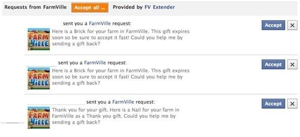 Three FarmVile requests