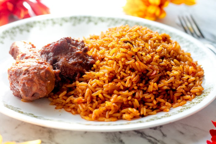 What is it? Rice made with tomatoes, onions, scotch bonnets, and chili peppers. There are endless variations on this recipe, but those five ingredients are usual constants.No list of Nigerian foods can be complete without a mention of Jollof rice. It's a party dish brought out at celebrations, a signature regional dish, and the recipe with which many West African communities — and countries — like to stir up friendly rivalries. If I had to pick just one favorite from this entire list, this one would probably be it. 😍Get a pack of long grain parboiled rice (which, unlike normal rice, won't get mushy) on Amazon for $6.99.Get the recipe here. And see an alternative here.