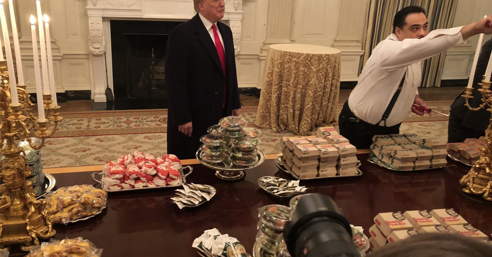 Trump Served A Fast Food Feast On Silver Platters At The White House To College Football Players