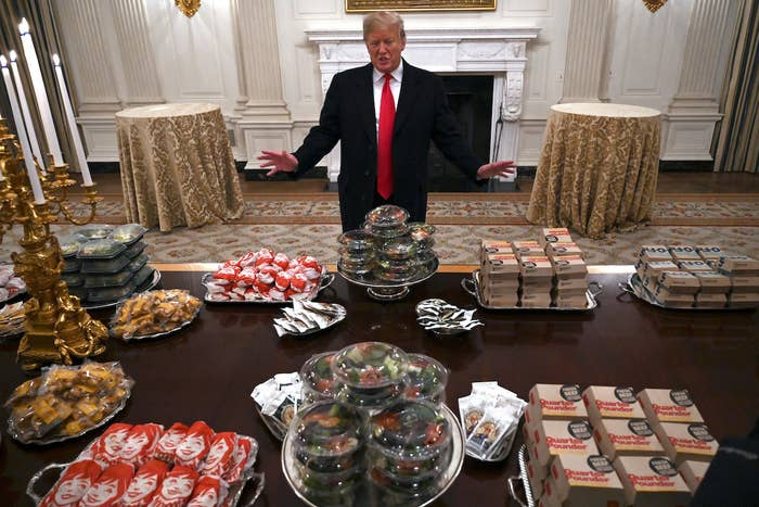 """The Clemson Tigers were invited to meet President Trump after defeating the Alabama Crimson Tide in the national championship game. The team was expected around 6 p.m., but because of the partial government shutdown most of the White House food staff had been furloughed.So Trump decided he would feed the players a meal of """"great American food,"""" featuring take-out classics from McDonald's, Wendy's, Burger King, and Domino's.""""Because of the shutdown, as you know, we have the great Clemson team with us,"""" Trump said. """"So we went out and we ordered American fast food paid for by me. Lots of hamburgers, lots of pizza, I think they'd like it better than anything we could give. And so, we'll have a little fun."""""""