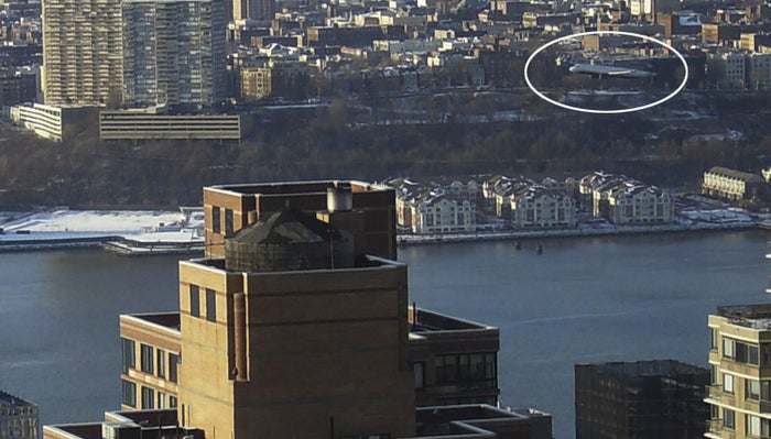 Circled in white, US Airways Flight 1549 descends on its way to an emergency ditching in the Hudson River on Jan. 15, 2009.