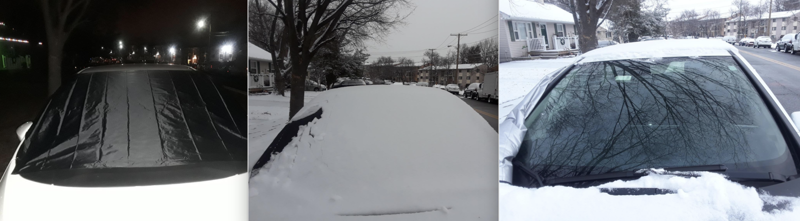 reviewer image showing the cover on their car windshield and then easily removing the snow from it