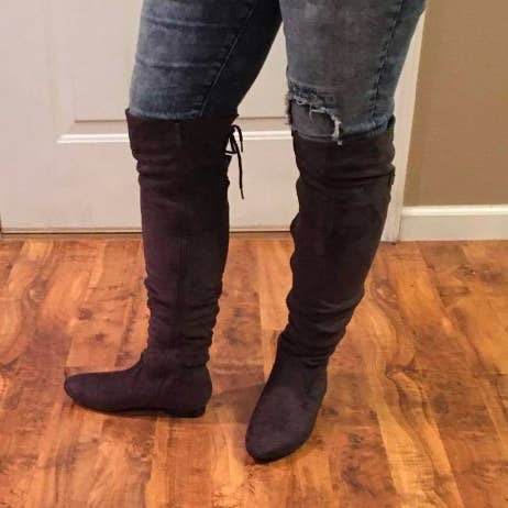 fb6c8c080617 Over-the-knee boots in a ton of faux-suede and faux-leather designs that  fit reviewers with a variety of calf sizes like a glove.