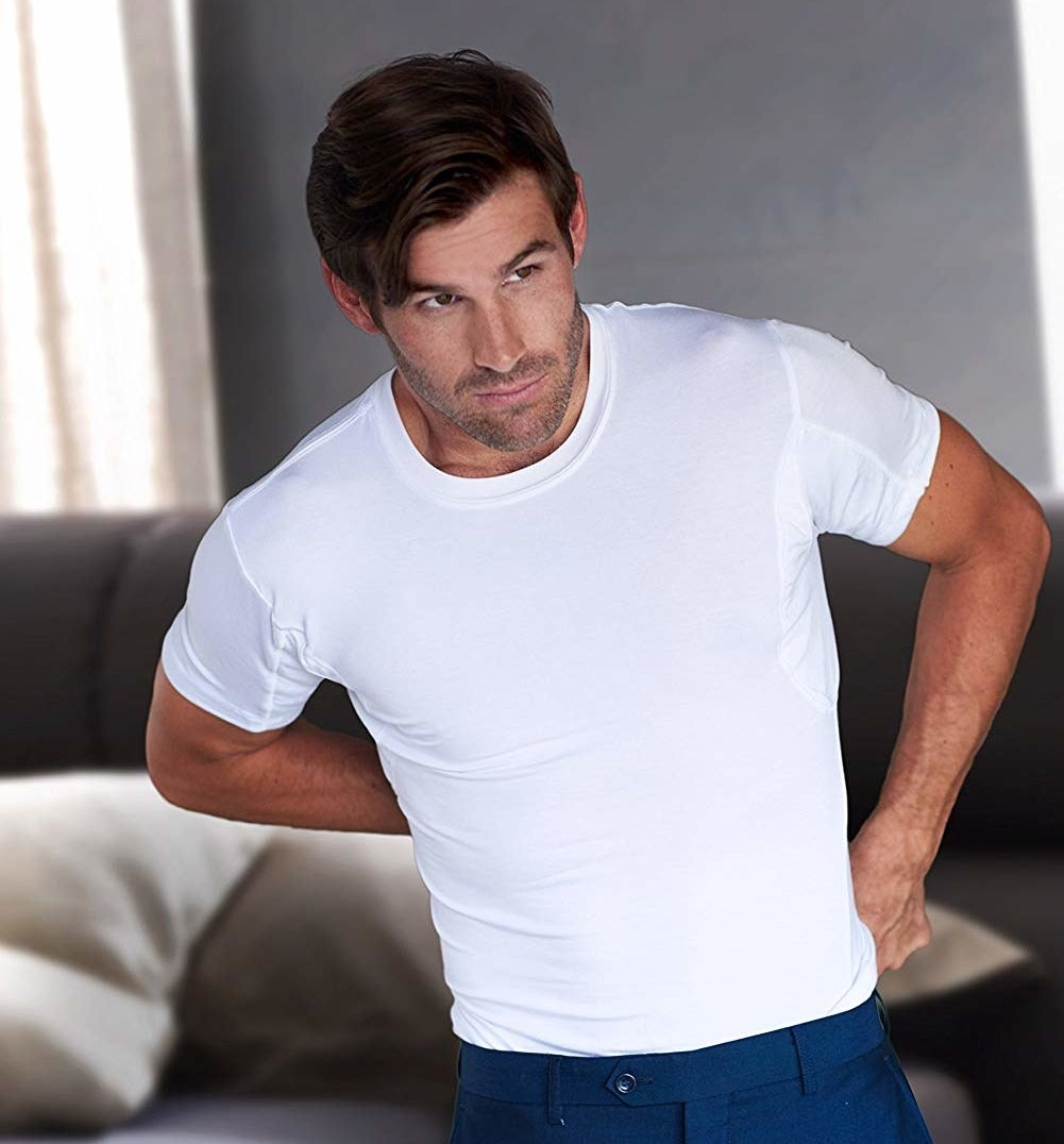 A person wearing the T-shirt