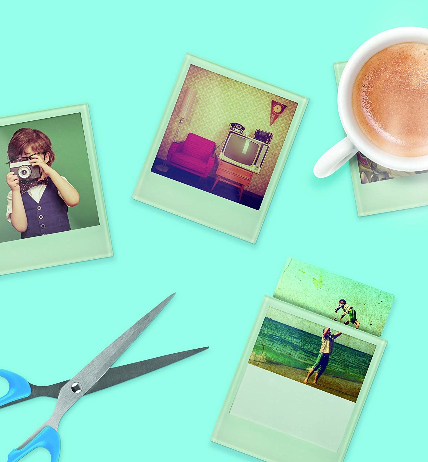 a bunch of polaroid shaped coasters with photos that can be swapped in and out