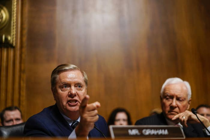 Republican Sen. Lindsey Graham during a hearing with Judge Brett Kavanaugh with the Senate Judiciary Committee on Sept. 27, 2018, on Capitol Hill.