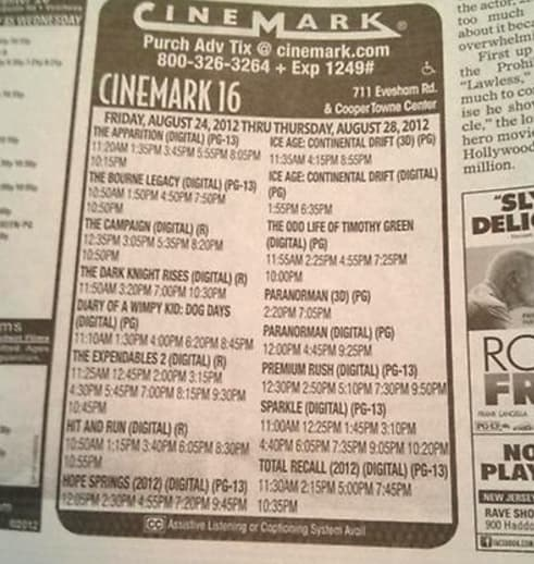 Newspaper movie times