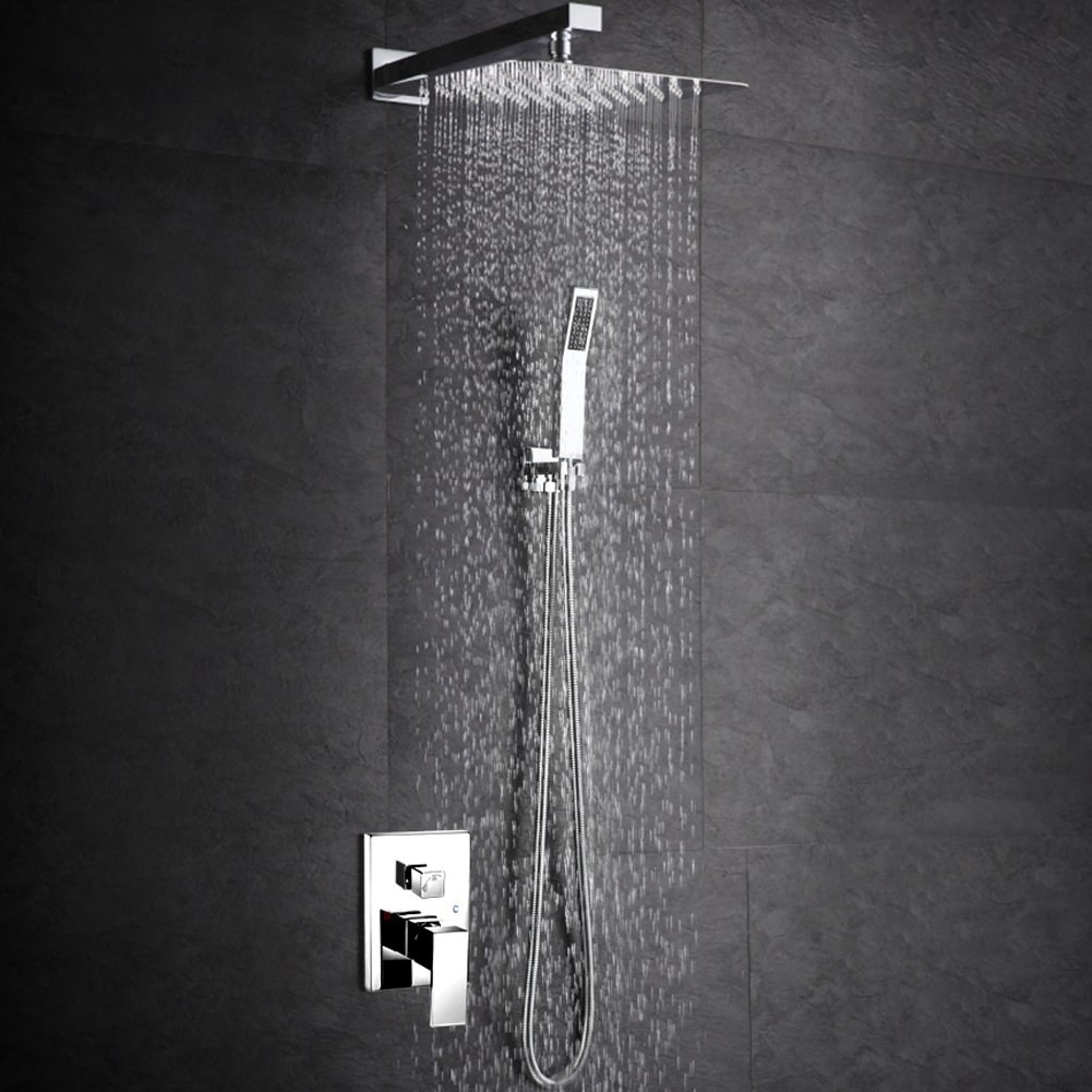 large silver shiny square shower head