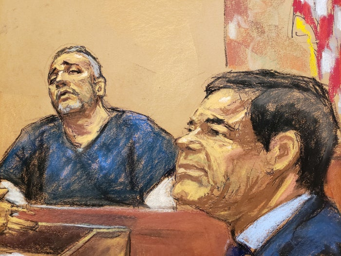 """Alex Cifuentes, a close associate of the accused Mexican drug lord Joaquín """"El Chapo"""" Guzmán (right) is seen testifying in this courtroom sketch in Brooklyn's federal court in New York."""