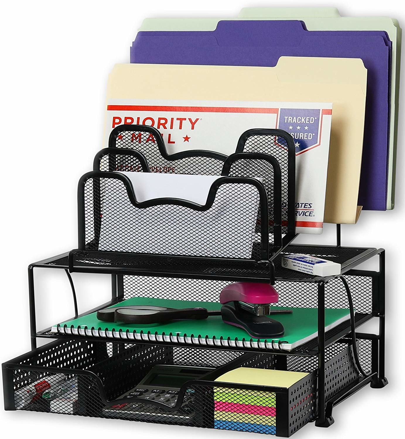 the black metal organizer with a drawer with three compartments, a shelf, and letter organizer