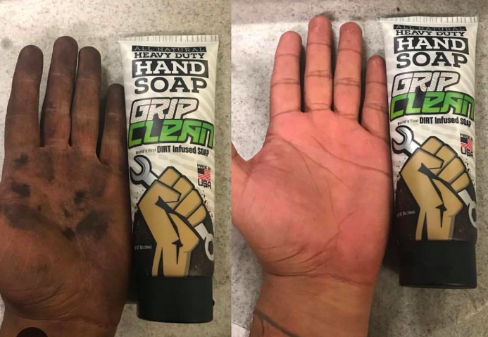 A customer review photo showing their hand before and after using the hand soap