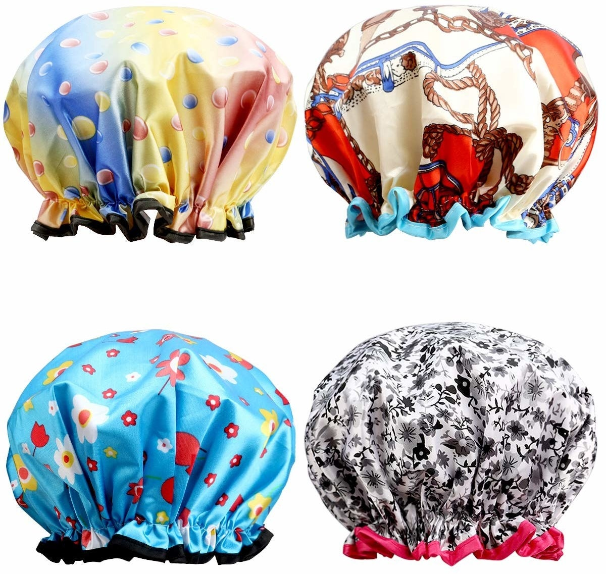 four bright patterned shower caps