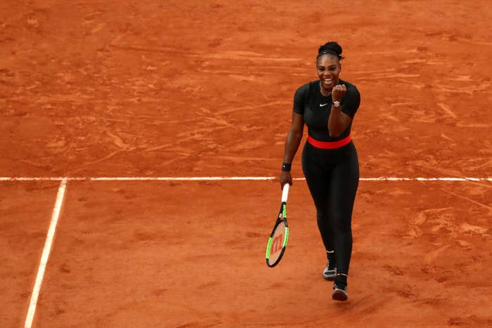 da3aa55bcee7 Perhaps her most iconic outfit is the black catsuit she wore to the French  Open last year. Unfortunately