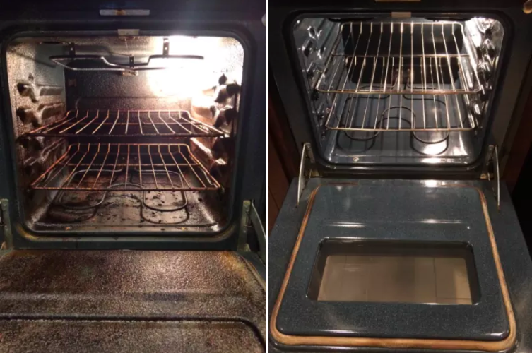 before: an oven caked with black, burnt-on gunk and after: the same oven, completely clean so you can see the dark grey-blue metal