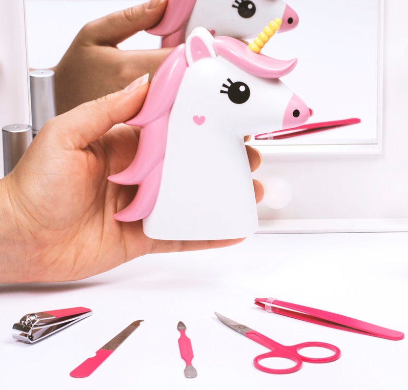 The kit includes the hard-shell unicorn case, nail clippers, tweezers, nail scissors, a nail file, and a cuticle tool.Get it from Firebox for $10.99.