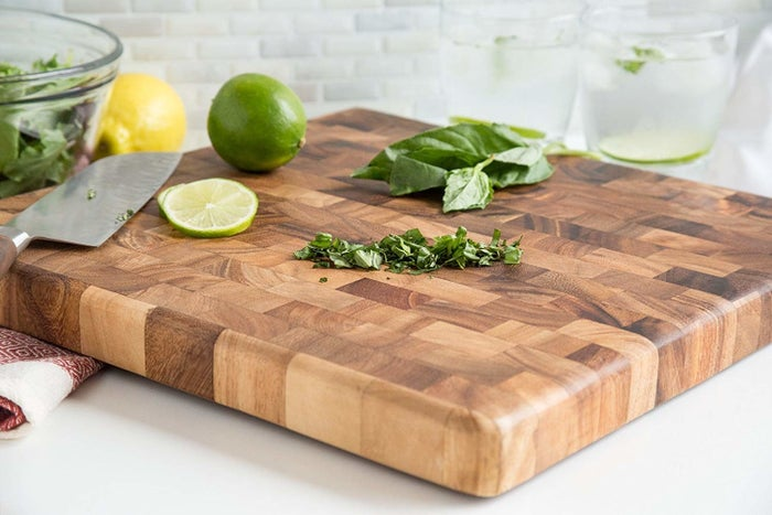 """Promising review: """"This board is SO BEAUTIFUL, the colors are very contrasting and there is even a bit of a luster within the wood! Not only that, it's also sturdy, a good size, and comes with clear instructions to care for it. I struck gold with this. It's super high quality and I definitely recommend. it"""" —Amazon CustomerGet it from Amazon for $52.99 (available in 15 styles)."""
