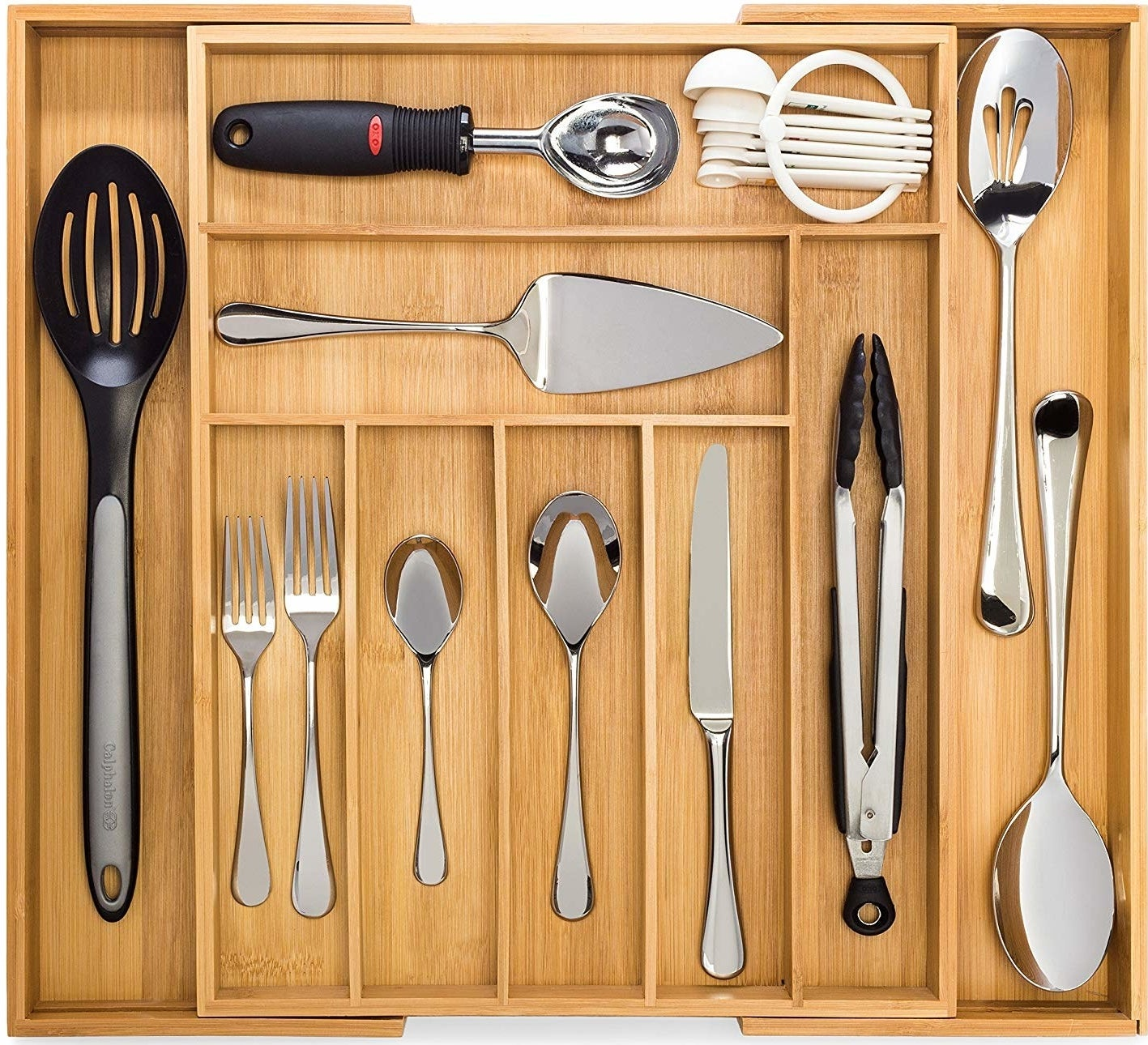 The organizer holding cutlery and other cooking utensils