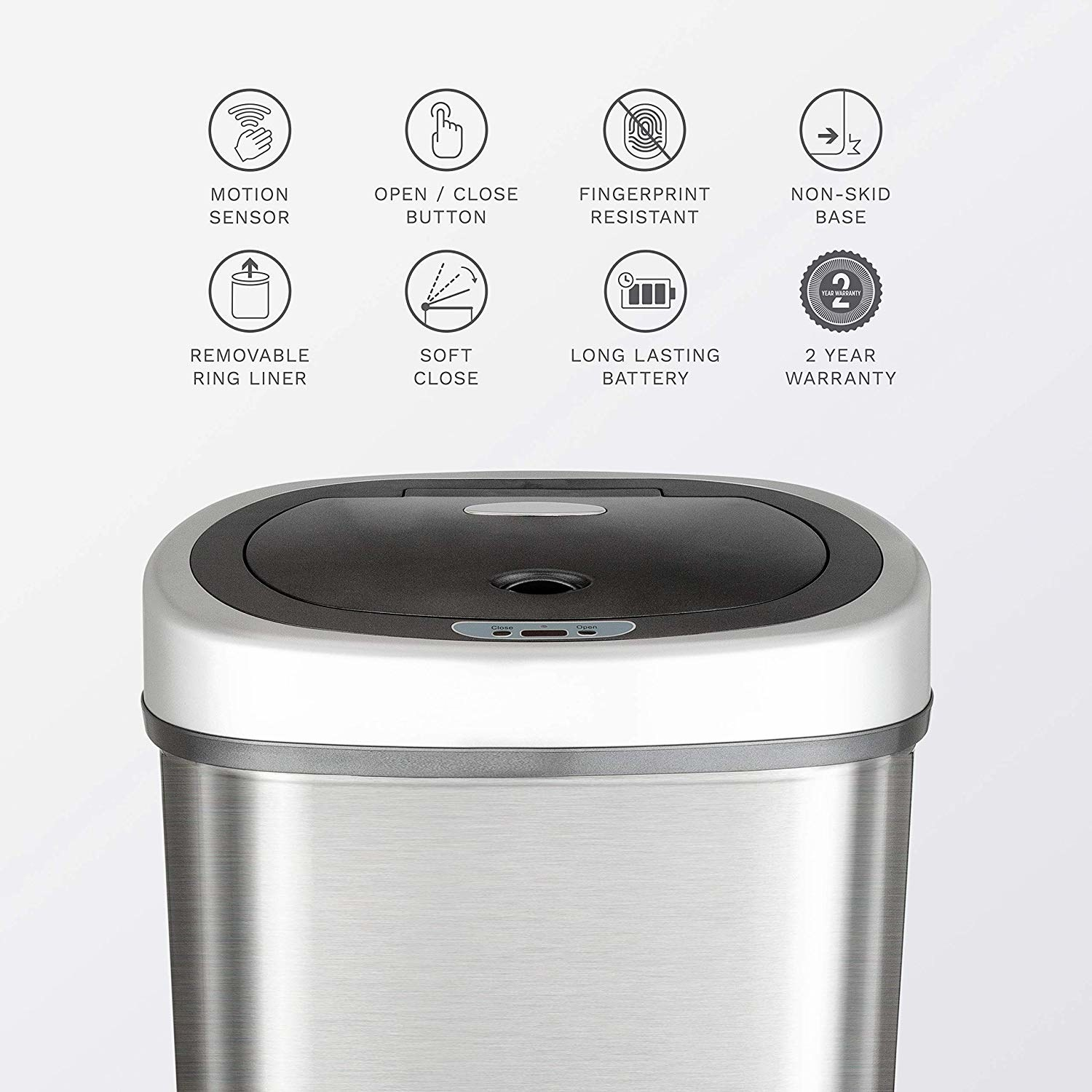 Trashcan with graphics describing what it does; including motion sensor tech, fingerprint resistance, soft close, long lasting battery, and two year warranty