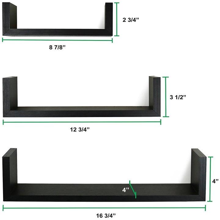 three black floating shelves